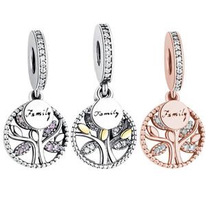 Epacket Yapımı 925 Gümüş Family Tree Charms Kübik Zirkon kolye Boncuk Fit Pandora BraceletNecklace İçin Kadınlar Takı