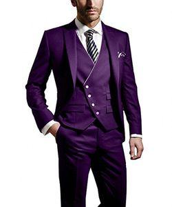 Mode Pourpre Mariée Tuxedos Peak Revers Groomsmen Robe De Mariage Pour Homme Populaire Veste Blazer 3 Piece Suit (Veste + Pantalon + Gilet + Cravate) 984