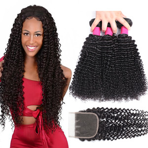 9A Brazilian Virgin Hair Bundles With Closures 4X4 Lace Closure Human Hair Bundles With Closure Deep Wave Kinky Curly Loose Wave Body Hair