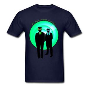 We Love Your Planet Navy Blue Men T-shirt No Fade Cotton T Shirts Mask Alien Print Male Size Large Tops Novelty Design