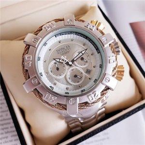 Esporte e lazer quartzo relógio dos homens INVICTA DZ7333 rotativas fio de aço grande discar Todas as mãos pode ser operado de alta qualidade