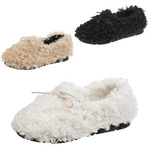 Целая продажа мех обувь женской 2019 осени новая продажа дропшиппинг лук плоского горох обувь бежевого ленивый теплый плюс бархат обувь размер 35-40