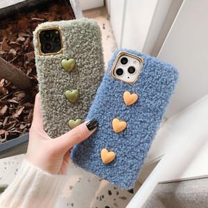 Para iPhone 11 pro xr x xs máximo luxo para iPhone Coração Fluff Phone Case For Love 7 8 6 6s Além disso Max macio Cavalo Plush cabelo Casos cobertas para trás