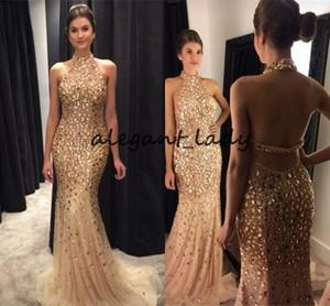 Illusione 2019 Halter Mermaid Abiti da ballo con strass Champagne Crystal Lungo Laurea Abiti da sera d'oro Vestito da sera per le donne