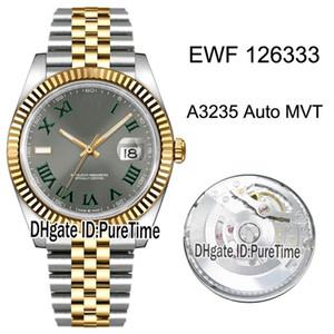 EWF 41 M126333-0020 CAL A3235 التلقائية الرجال ووتش اثنين من لهجة الذهب الأصفر الحافة مزمر الطلب رمادي الروماني علامات اليوبيل سوار Puretime J05a