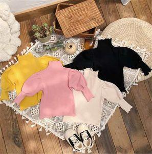 INS T-shirt Thicken Novas Estilo Garotas 1-6t completa Puff manga comprida Inverno malha de algodão alta Neck Fashion Girls Top
