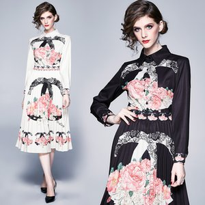 High-end Long Sleeve Dress for Women Printed Spring Autumn Pleated Dress Temperament Lady Midi Dress Prom Evening Dresses