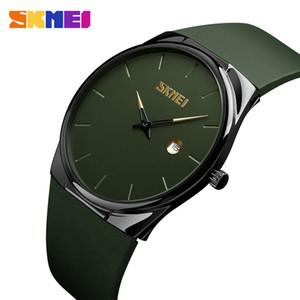 SKMEI reloj de cuarzo señora de los hombres hombre de la moda relojes de las mujeres PU impermeable pequeño dial masc Relojes verde del ejército del relogio 1509