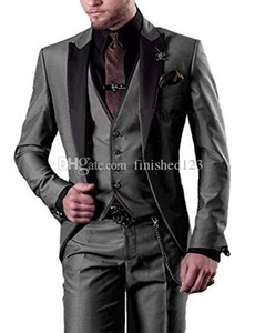 Very Good One Button Gray Groom Tuxedos Peak Lapel Men Suits 3 pieces Wedding Prom Dinner Blazer (Jacket+Pants+Vest+Tie) W538