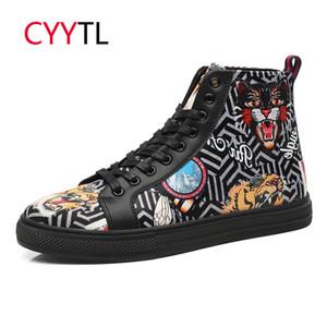 CYYTL новая мода для мужчин повседневная кожаная обувь с высоким верхом Бенгальский тигр 5D печать кроссовки открытый ходьба Tenis Masculino Zapatillas S200409