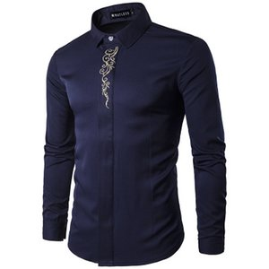 mens designer dress shirts uomo camicia uomo moda con ricamo manica lunga spedizione gratuita a25