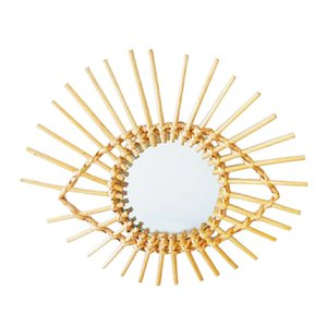 Nordic Wall Hanging Makeup Mirror Holder Rattan Innovative Art Decoration Mirrors Frame for Bathroom Dressing Decorative Mirror