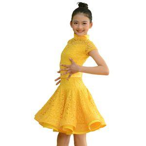 Magro Vestido Latin Para As Crianças Rendas Chacha Samba Salsa Tango Desempenho Dancewear Menina Salão de Baile Rumba Prática de Dança Outfit DC2394