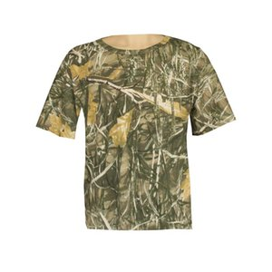 Cotton Breathable Bionic Camouflage Hunting Fishing Hiking Camping T-Shirt Loose Plus Size Round Neck Short Sleeve T-Shirts