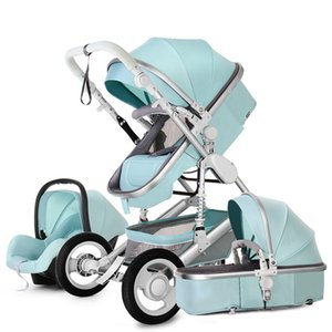 عربات الأطفال # عربة طفل الفاخرة 3 في 1 مع مقعد السيارة المحمولة عكسها ارتفاع المشهد أمي الوردي السفر عربة