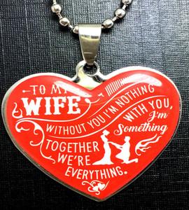1 Corazón para mi esposa Sorpresa Colgantes de acero inoxidable Collar Romántico Boda Aniversario Cumpleaños Cadena Joyas