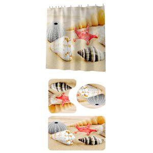 4 Piece Shower Curtain Sets With Non-Slip Rug, Toilet Lid Cover, Bath Mat D