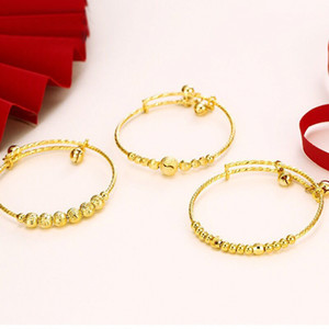 MGFam (112BA) Bell Bangles and Bracelets For Boys Girls Baby Gifts (adjusted) Fashion Jewelry 24K Pure Gold Plated