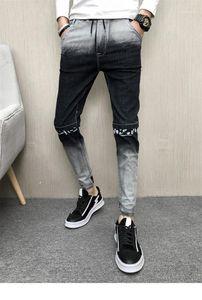 بنطال الجينز الضيق المتدرج للون الجينز الضيق المتدرج للون الجينز عارضة Mens Drawstring جينز مصمم قلم رصاص