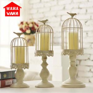 Candelero europeo Cubo Soporte Titulares de Velas Blanco Hollow Bird Cage Tallado Titular de la Vela Titulares de La Boda Decoración para el hogar