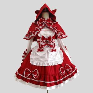 Personnalisés 2018 Rouge gothique victorien Lolita Robes Costumes Halloween mi-longues scène Performance Costumes Femme de ménage Théâtre