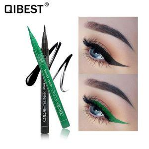 Qibest 12 Color Eyeliner Liquid Waterproof Easy To Wear Makeup Matte Eye Liner Blue Red Green White Gold Brown Eyeliner 120pcs lot DHL