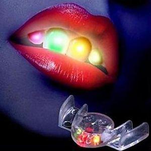 هالوين خدعة أو علاج مضحك LED تضيء اللمعان قطعة الفم الوهج الأسنان لحزب أسنان الهذيان حدث الديكور هدية للأطفال
