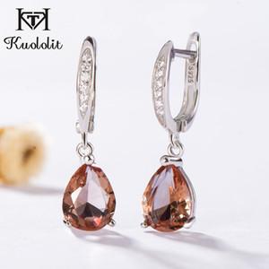 Kuololit Zultanite Gemstone Clipe Para As Mulheres Sólidos 925 Sterling Silver Criado Mudança de Cor Brincos de Casamento Jóias Finas MX190720