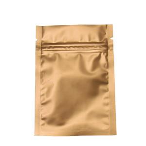 Несколько Размеров 200 Шт. / Лот Золото Матовый Майлар Молния Пакет Мешок Zip-Lock Алюминиевая Фольга Упаковка Мешок Для Кофе Чай Порошок Массовая Еда