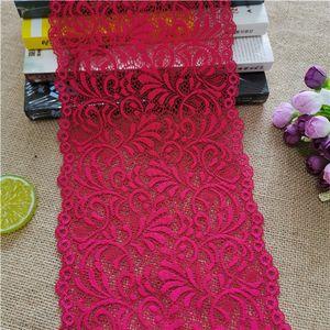 3Yard / Lot E2801 Breite 18.5CM Farben-Spitze-elastische Spitze Stoff Sewing Notions für Stoff Hochzeitsdekoration weißen großen Rand