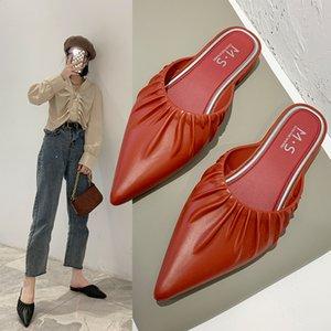 Heel Praça Mulheres Chinelos 2020 Shoes Primavera e Verão única fêmea moda selvagem Baotou Pointed Casual Mulheres Half Chinelos