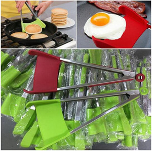 Clipe Food Silicone espátula Tongs Non-stick resistente ao calor comida Clipe aperto de fruta inoxidável Ferramentas vegetais WY328Q
