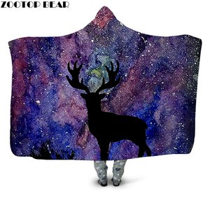 Galaxy Black Deer 3D Printed Plush Hooded Blanket for Adults Children Warm Wearable Fleece Throw Blanket Home Office Washable