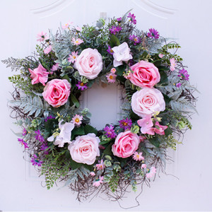 Large Size 60 cm High Quality Large Size Rose Artificial Flower Wreath For Door Wall Window Christmas Home Wedding Garden Decoration