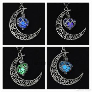 Glowing In The Dark Collane con pendente Hollow Moon Heart Collana girocollo Gioielli Collares