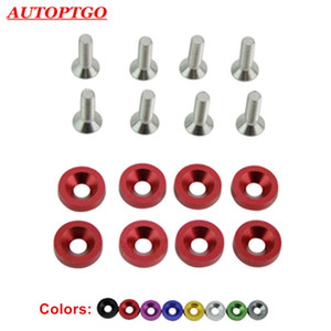 8Pcs M6 Car JDM Modified Hex Fasteners Gasket Screw Bolt Nuts For Auto Engine Battery Guard Fender Bumper Licence Plate Washer Screws