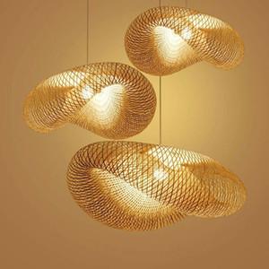 A mano Lampada di bambù di vimini Rattan Saluto Ombra Pendant Light Vintage giapponese Lampade Sospensione casa coperta sala da pranzo Tavolo