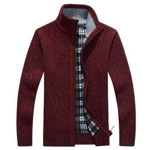 Men's Solid Color Sweatercoat Male Autumn Winter Thick Sweater coat Outerwear Slim Fit Wool Fleece Sweaters Jacket