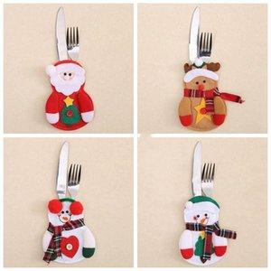 Noel bıçak çatal çanta Noel bulaşığı çanta Noel küçük kardan adam geyikleri Santa yaratıcı ev sofra takımları dekorasyonlar LXL576-1
