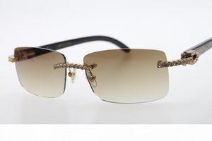 2020 Toptan Sıcak Çerçevesiz gözlükler Yeni 3524012 elmas Rimless Siyah Çiçek Buffalo Horn Güneş gözlüğü Erkekler taş kutusuyla Unisex Gözlük Kahverengi