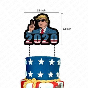 President Trump 2020 Flags Latex Konfetti Balloons 24PCS / Set Trompete Geburtstags-Party-Pull-Flagge String Cartoon-Kuchen-Karten Access DHF270