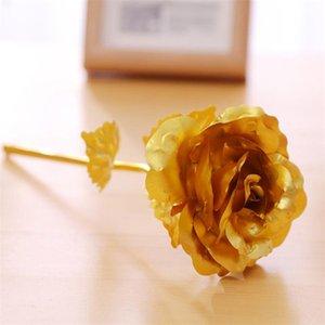 24k Gold Foil placcato Rosa artificiale lungo stelo Regali low cost di fiori per la decorazione Lover nozze San Valentino Festa della mamma del partito della casa
