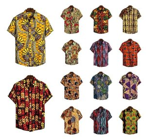 Рубашки С Рукавами Повседневная Мужская Дизайнерская Одежда Африканский Стиль Мужские Дизайнерские Рубашки Мода Этический Узор Печатный Лацкан Шеи Короткий