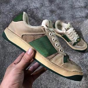 2019 Screener Грязные дизайнер обуви Luxury Real Leather Designer Sneaker Man ACE вышитыми клубники Повседневная обувь для женщин размер 36-45