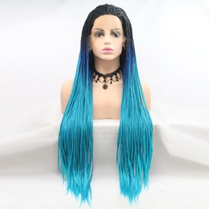 Front Lace Wig Front Lace Chemical Fiber Braid Hair New Style Natural Curvature Gradient Blue