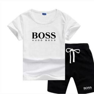BOSS Buddha ragazzi di lusso della moda i bambini del bambino 2 collega gli insiemi di breve shirt + plaid pantaloncini bambini che coprono gli insiemi maniche 8 colori 2-7T