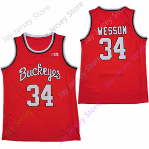 2020 New NCAA Ohio State Buckeyes Jerseys 34 Kaleb Wesson College Basketball Jersey Red All Stitched Size Youth Adult