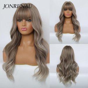 JONRENAU Synthetic hellbraune Farbe mit Highlights Naturlangwelle-Perücken mit Ordentlich Bangs für Weiß / Schwarz Damen Everyday Perücken