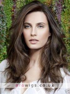 100% настоящие волосы! Новый красивый сексуальный длинный коричневый волнистый парик для женщин человеческих волос