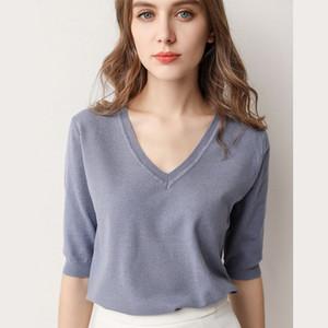 9 цветов Женская футболка Леди мода повседневная Весна Осень Зима свитер V-образным вырезом свободные дна рубашки